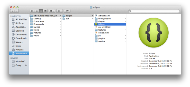 Android ADT Location in Finder